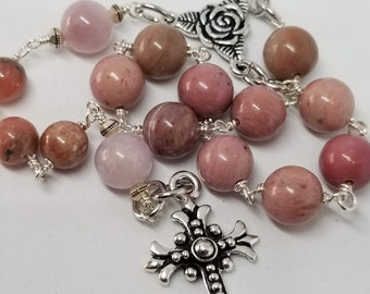 Pocket Rosary - Stone Beads with Silver Plated Findings - Pink - Handmade by MartinMade