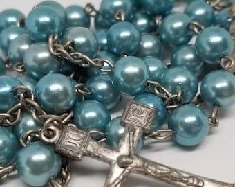 Vintage Catholic Rosary - Turquoise Blue Beads, Silvertone Findings, Italy