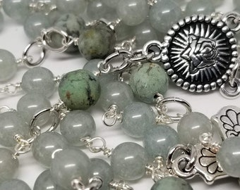 Catholic Rosary - Glass Beads, African Turquoise Beads - Handmade by MartinMade