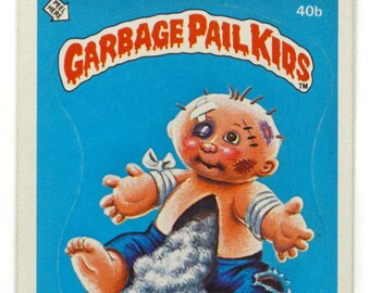 Vintage 80s Garbage Pail Kids Damaged Don 40b Series 1 Collectible Sticker Trading Card