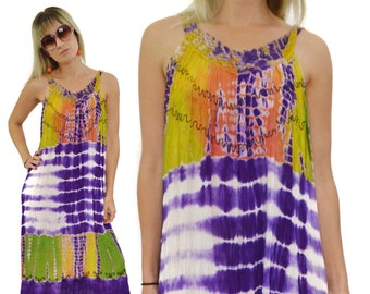 Vintage 90s Flower Indian Tie Dye Multicolor Long Maxi Lounge Casual Dress