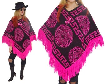 Vintage 90s Pink and Black Shiny Frilly Hippie Boho Ethnic Poncho