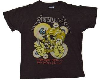 Vintage 80s Metallica The Shortest Straw Heavy Metal T Shirt Sz L