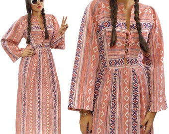 Vintage 70s S277 Hippie Boho Prairie Maxi Dress