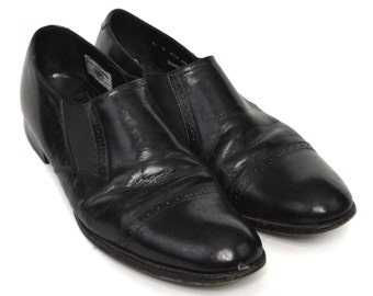 Vintage 90s Stacy Adams Black Leather Wingtip Dress Shoes Sz 11