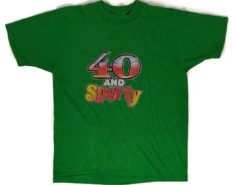 Vintage 80s 40 and Sporty Iron On Bantam Green T Shirt Sz L