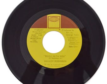 Vintage 80s Smokey Robinson Being With You Tamla Soul 45 RPM Single Record with Jukebox Strip