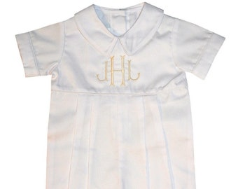 a7bd10d0f Baby Boy Christening Outfit-Baptism Blessing Romper Bubble-Monogrammed Christening  Cross Formal Special Occasion
