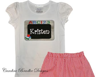 Girl s Back to School School Monogrammed Personalized Chalk Board Shirt and  Shorts Outfit 280c8a9c71653