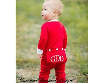 Children s Red Butt Flap Pajamas-Monogram Christmas Pajamas Jammies PJs-Baby  Toddler 1 Piece Sleeper-Faux Drop Seat Flap Pajama Girls   Boys e8ff51233