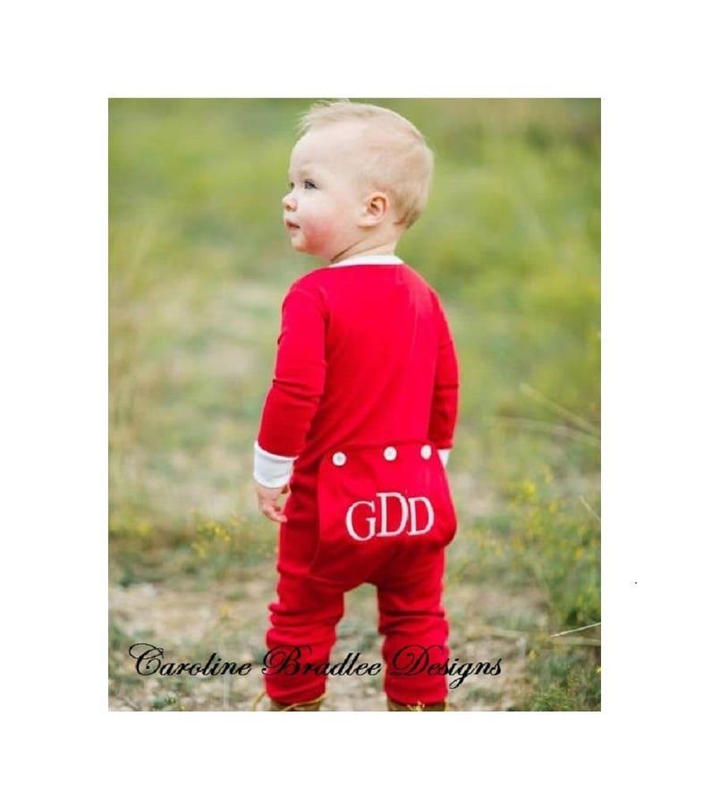 Children s Red Butt Flap Pajamas-Monogram Christmas  a35c99fc3