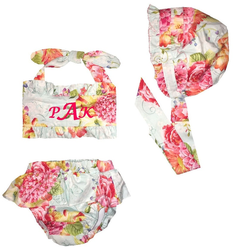 Baby Girl/'s Monogram Swimsuit Bathing Suit-Girl 1 Piece Swimsuit-1 Piece Bathing Suit-Baby Swimsuit and Matching Bonnet
