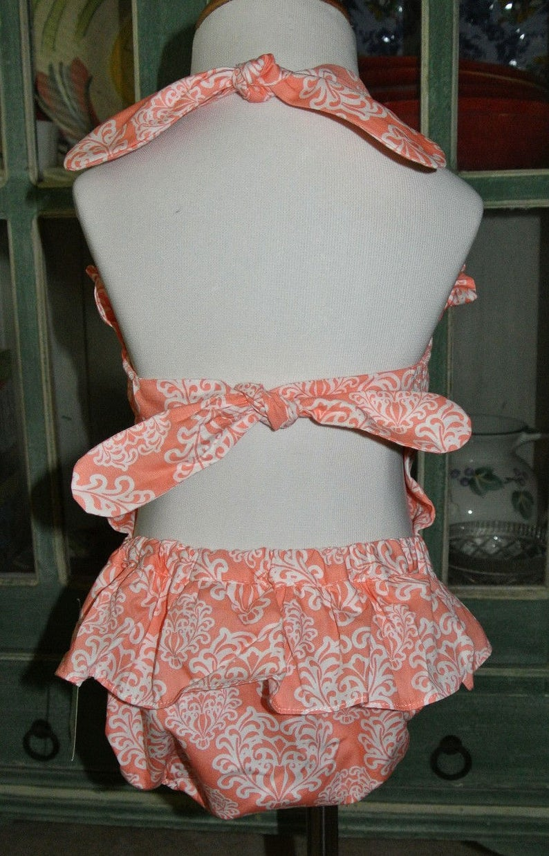 Monogrammed GIRL/'S 1 Piece Swimsuit in Melon Coral Damask Personalized for Baby Girls and Toddlers