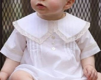 Heirloom Bubble for Baby Infant Toddler Boys-Christening Bubble French Lace Peter Pan Collar