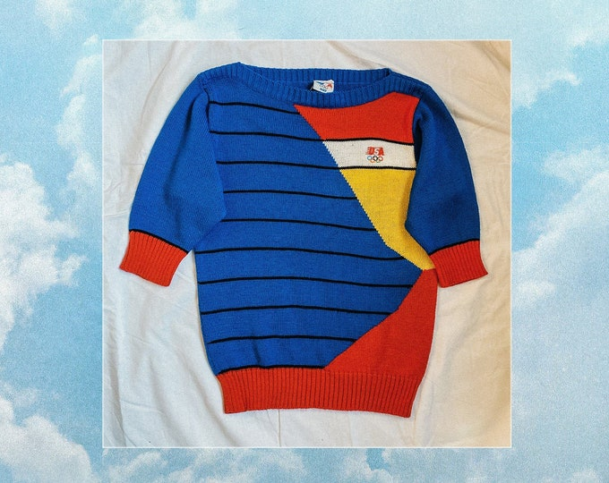 80s vintage levis olympics sweater // fitted retro knit top 70s 80s sporty casual shirt size small