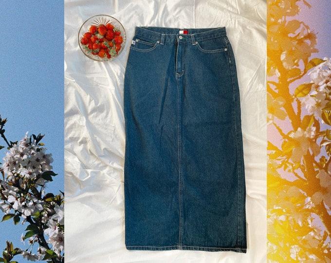 vintage 90s 2000s tommy hilfiger denim maxi skirt // 1990s long jean skirt with pockets