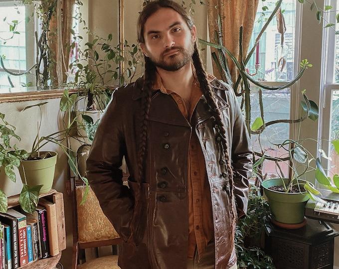 1970s vintage dark brown leather jacket // button up medium 70s coat // SKM