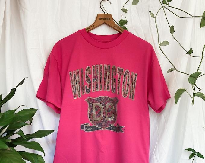 2000s hot pink t-shirt  / 90s glitter paisley washington dc tee travel shirt