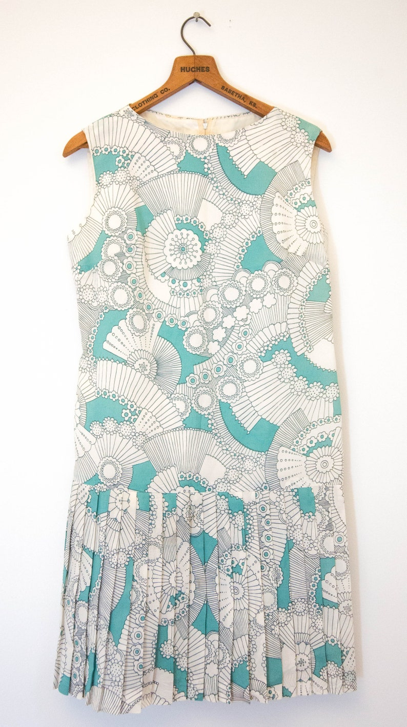1960/'s turquoise and white dress  mid-length funky pattern 60/'s dress  vintage wild patterned casual block party dress  retro dress