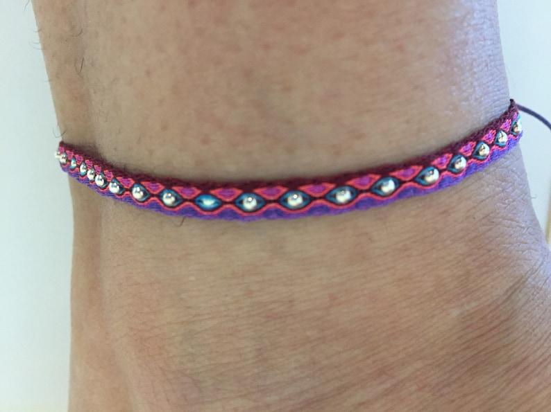 Tribal Anklet Turquoise- Weaving Card 401 Woven Anklet- Beaded Anklet- Friendship Anklet Black Purple Fuscia