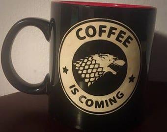 Coffee is Coming Mug Engraved- Coffee Lovers Gift- Christmas Gift- Kris Kringle/Secret Santa Gift