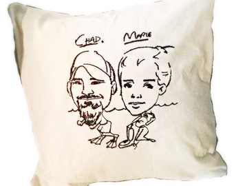 """Caricature Pillow- Your caricature embroidered on a pillow mesuring 14""""x14"""""""