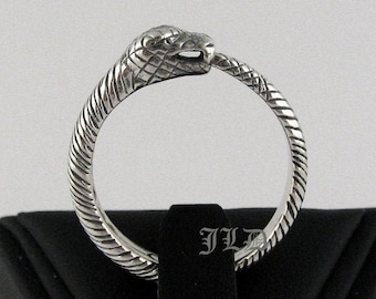 Ouroboros, sterling silver or 10k gold ring