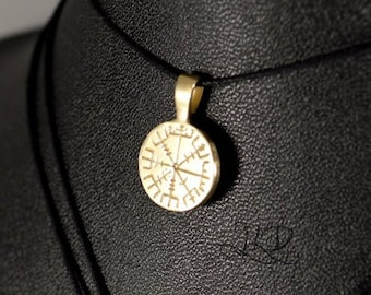 Vegvisir / Aegishjalmur, mini round sterling silver or bronze pendant