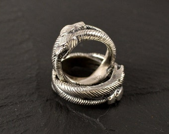 Double Oroboros, sterling silver or 10k ring