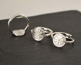 Vegvisir or Aegishjalmur, mini round sterling silver adjustable ring or 10k gold