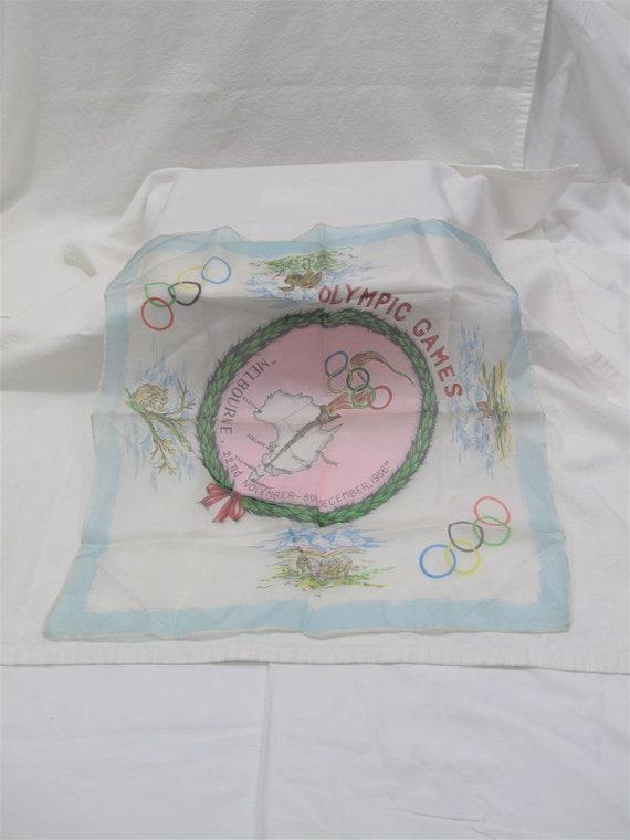 1956 Olympic Games Souvenir Handkerchief or Scarf~
