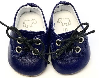 French Blue leather lace-up shoes for Sasha Toddlers and Babies
