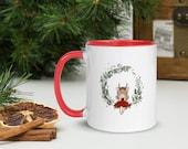 Ho Ho Ho Christmas Deer Doll Mug with Color Inside - Right handed