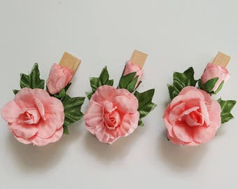 Clothespin with Pink Roses - Wooden Peg with Flowers - Planner Embellishment Paperclip