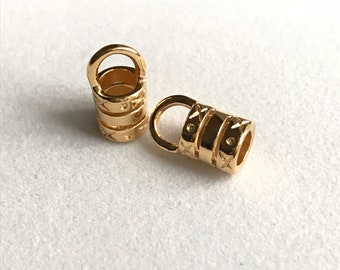 5mm Gold Plated Barrel Crimp End - 1 pair