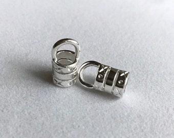 5mm Silver Plated Barrel Crimp End Caps - 1 pair