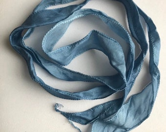 "Silk Ribbon - Washed Denim Blue 40""- 42"" inches long"