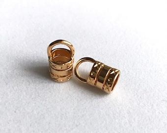6mm Gold Plated Barrel Crimp End - 1 pair