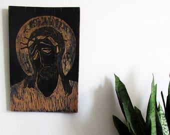 Christ Woodcut folk Art / Christian art / Folk art / Jesus Christ / Passion of the Christ