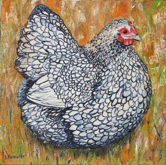 Chicken Wall Art Decor Silver-Laced Wyandotte Kitchen Art | Etsy