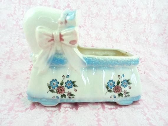 Jahrgang keramik stubenwagen baby Übertopf blau rosa inarco etsy