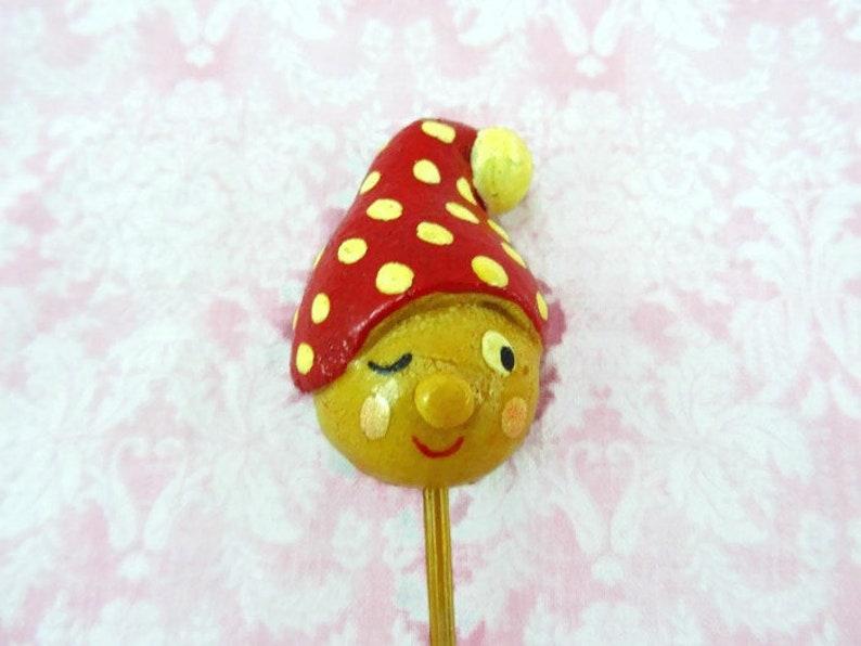 Vintage Gnome Head Floral Pick Red White Polka Dot Gnome Elf Head on Stick