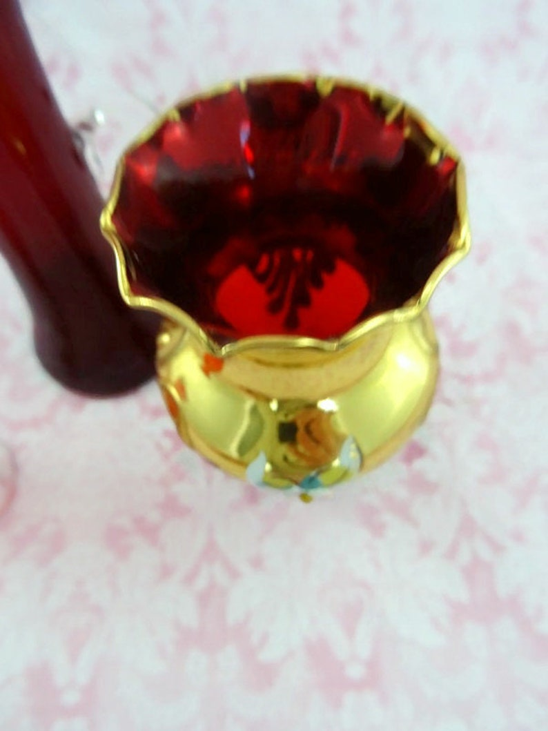 Vintage 3 Red Glass Bud Vases Vintage Bud Vases Gold Detail Miniature