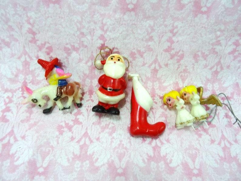 Vintage Miniature Plastic Christmas Craft Decorations Santa Claus Angels