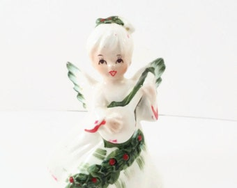 Vintage Lefton Christmas Angel Playing Guitar/ Mandolin/ Lute Figurine Japan 6394 Vintage Lefton Angel With Guitar Vintage Lefton Figurine