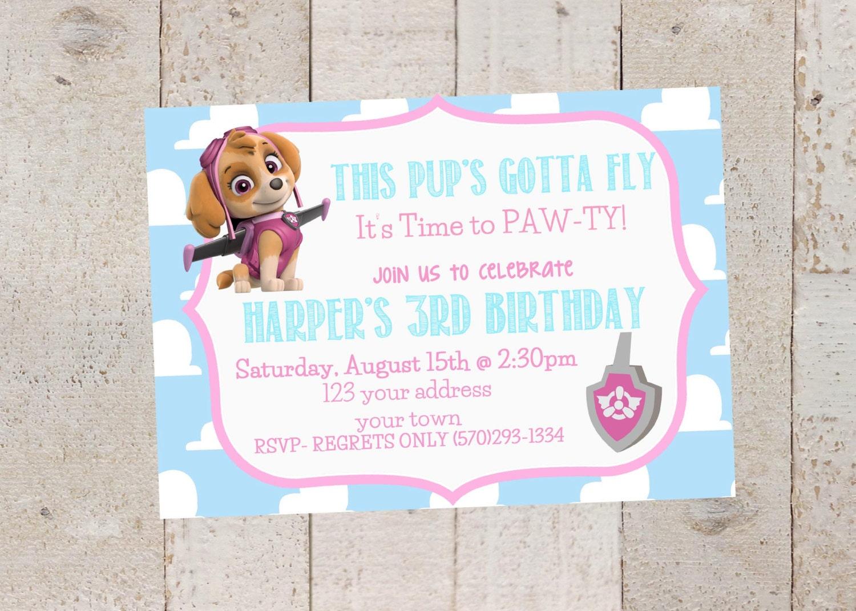 Skye-Paw Patrol Birthday Invitations Paw Patrol Birthday | Etsy
