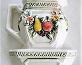 Vintage Mid Century Ceramic Fruit Flowers Pitcher Wall Pocket Vase