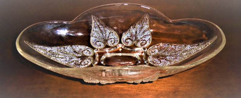 Vintage RelishCandy Dish Clear Glass Beveled Leaf Pattern W Pebbled Pattern