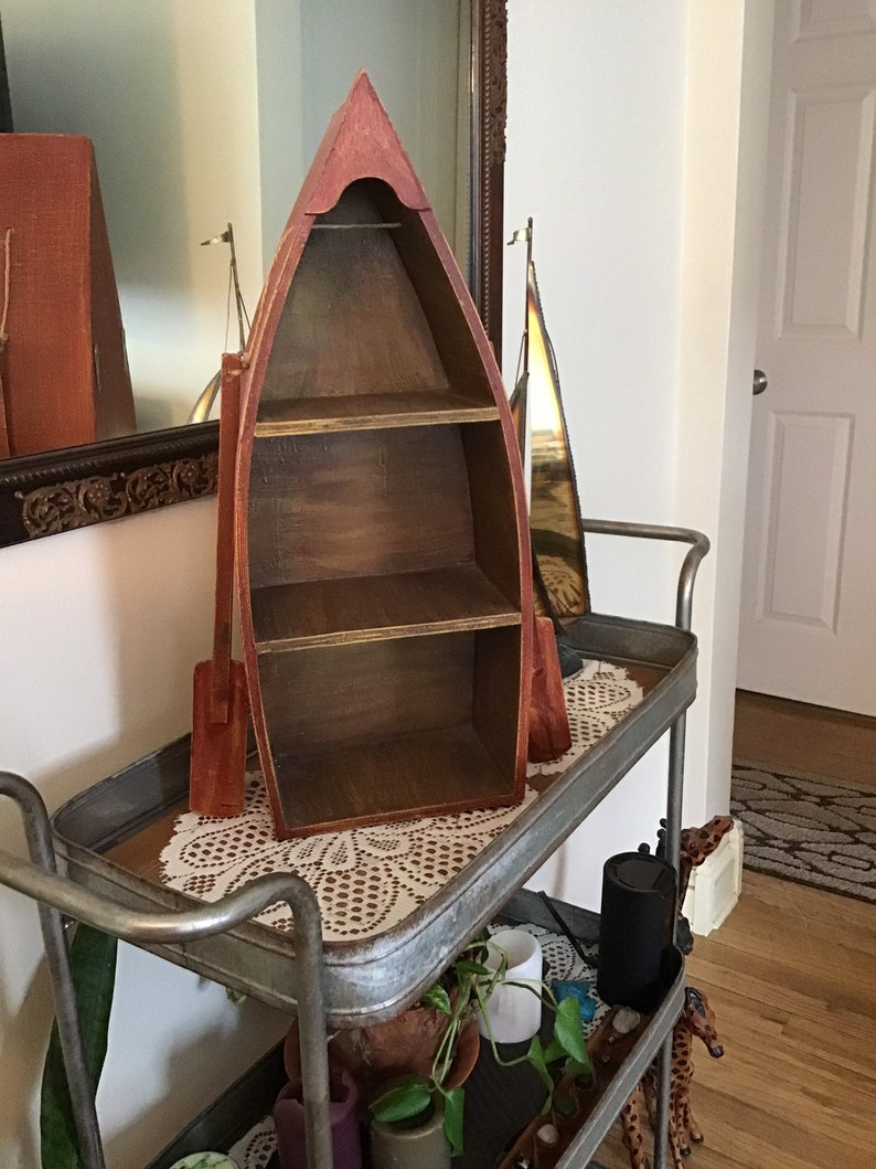 Vintage Nautical Wooden Boat Freestanding Or Wall Shelf Nautical Shelf Home Decor Office Or Store Unit Display