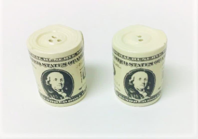 Vintage Pair of 100 Dollar Bills Ceramic Salt /& Pepper Shakers Collectibles